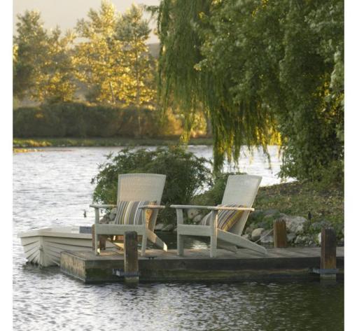 Decoracao de jardim a beira do lago