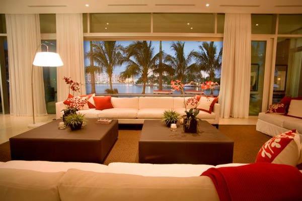 Arquitetura e Decoração de casa em Miami - decoracao sala de estar  2
