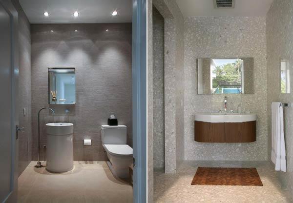 ARQUITETURA E DECORAÇÃO DE CASA EM MIAMI, FLORIDA  Decoração de Interiores  -> Banheiro Decorado Com Cimento Queimado