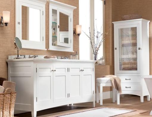 Decoracao de casa - dicas de decoração de banheiro com fibras naturais e móveis brancos