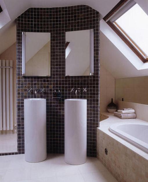 Dica de decoração de banheiro moderno no sotão