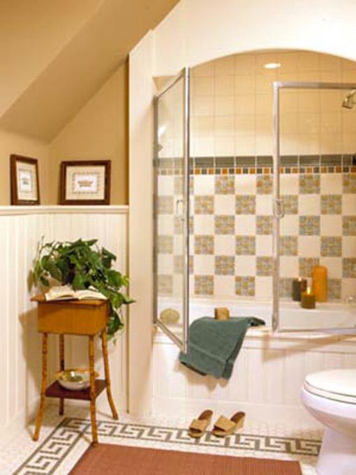 Dica de decoração de banheiro no sotão com banheira imbutida