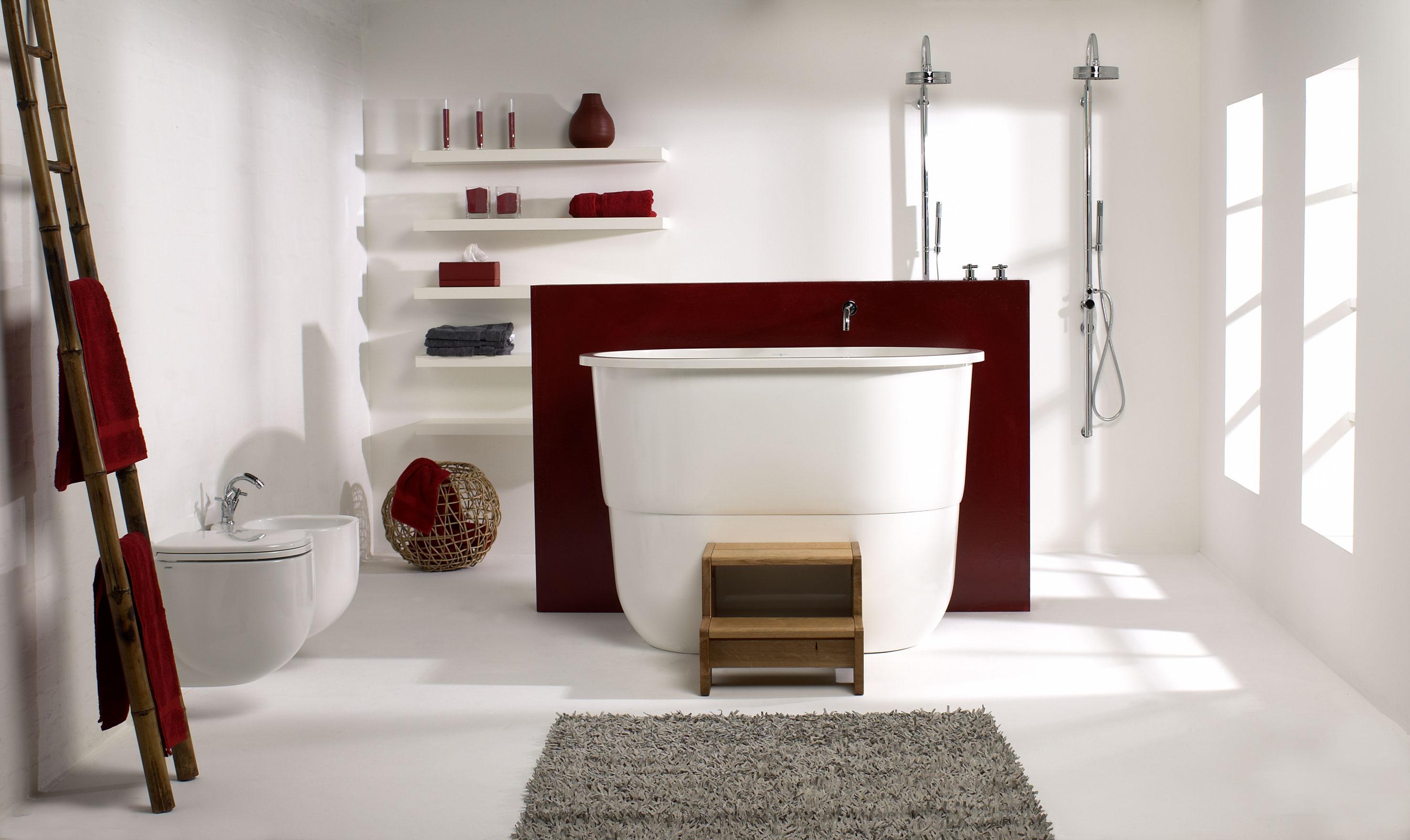 dicas de decoracao de banheiro com banheira moderna 4.jpg #3A130E 2953x1760 Banheiro Com Banheira E Tv