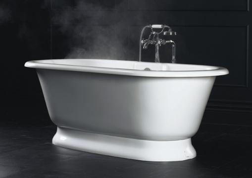 Decoração de Banheiro - Banheiro com banheira Vitoriana York Doka Bath Works com agua quente