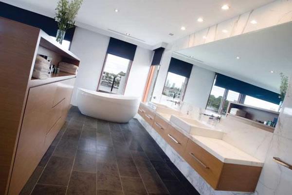Dica de decoracao para casa - Arquitetura e decoração de banheiro  com banheira de imersão conteporanea