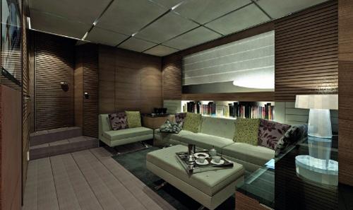 dica de decoração de interior de yacht - Decoração de sala de estar e tv