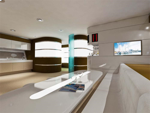 dica de decoração de interior de yacht - Moderna sala de estar