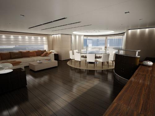 dica de decoração de interior de yacht - Sala de jantar e Sala de estar